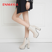 ENMAYLA Microfiber Super High Women Boots Winter Zip Round Toe Square Heel Fur Poly Urethane Leather Rubber