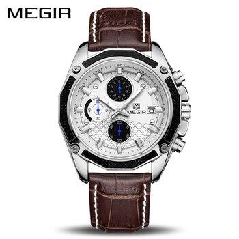 MEGIR Original Men Quartz Watch Top Brand Military Watch Multifunction Chronograph Leather Sport Watches Relogio Feminino 2015