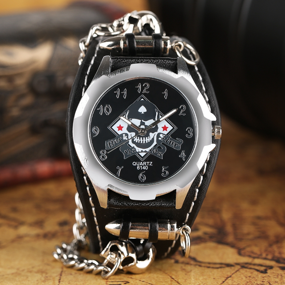 Fashion Gothic Style Creative Watch Men Women Rock Punk Cuff Bullet Chain Quartz Clock with Cool Skull Bracelet Gift Relogio TOP 2017 (9)