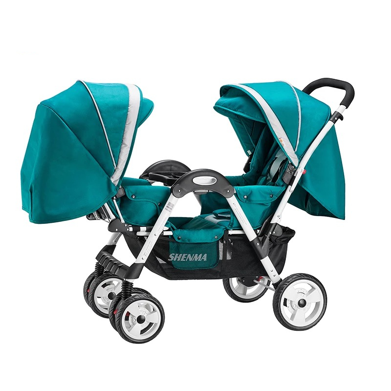 цена на Lightweight Twins Stroller Double Baby Stroller to Sit Face to Face, Can Lie Can Sit, 2 Seats Pushchair for 0-36 Months Kids
