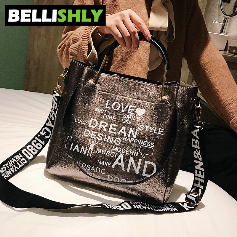 Bellishly women's words letter shoulder bag womens fashion popular handbags female zipper hand bags cell phone pocket lady bolsa 3