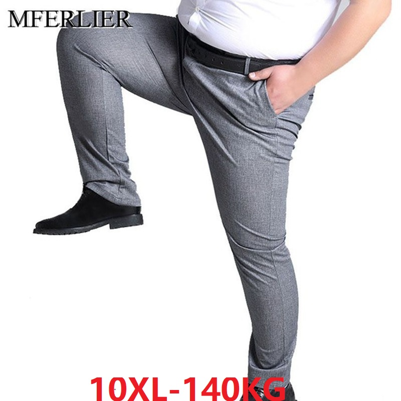 Summer Men Simple Suit Pants Navy Blue Plus Size Big 7XL 8XL 9XL 10XL Man Formal Suit Pants Elasticity Straight Trousers 50 52