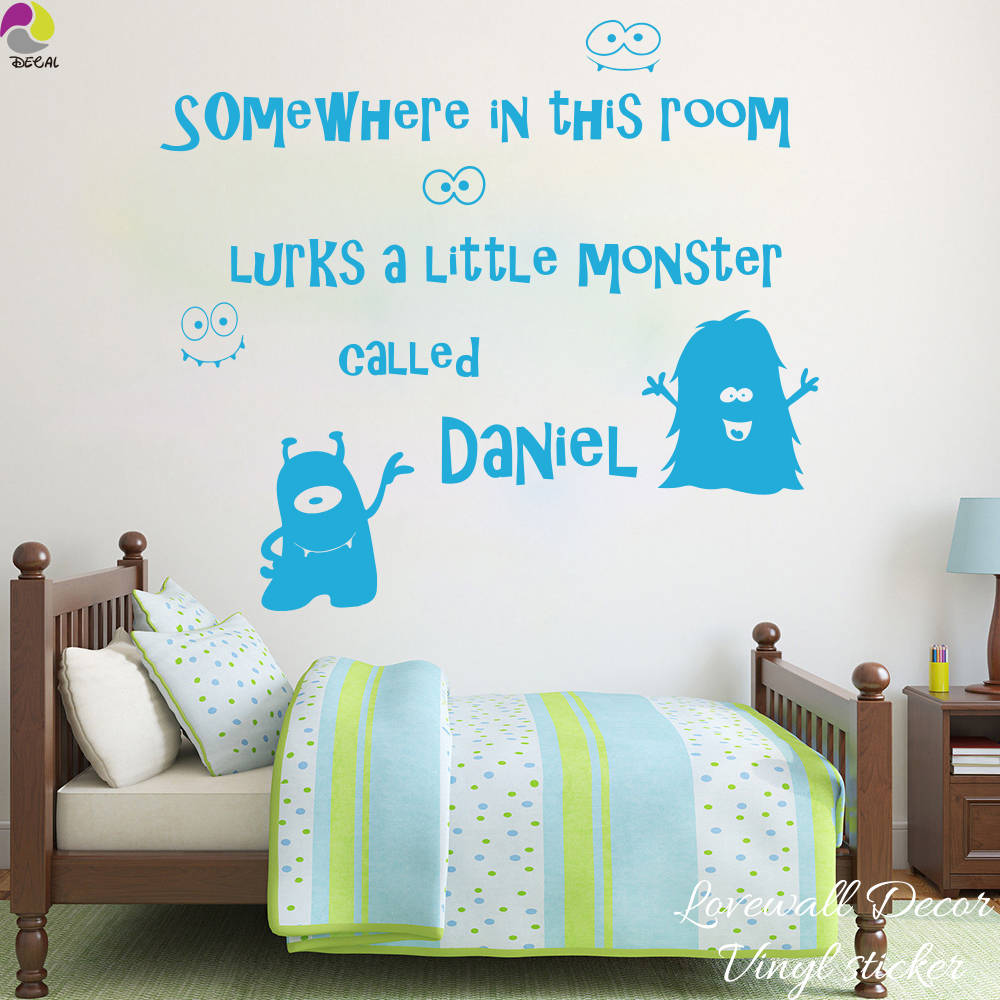 Us 8 66 9 offcustom name somewhere in this room lurks little monster called wall sticker decal boy room bedroom living room vinyl home decor in