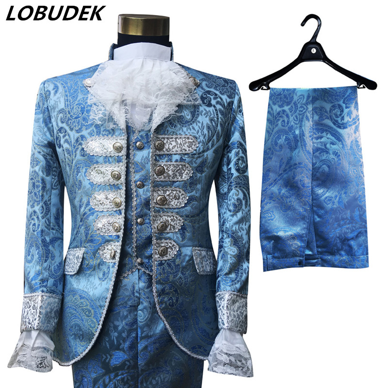 Men's Blue Court Dress Occident Wedding Blazers Suit Stage Singer Chorus Performance Clothes Host Studio Shooting Stage Outfits