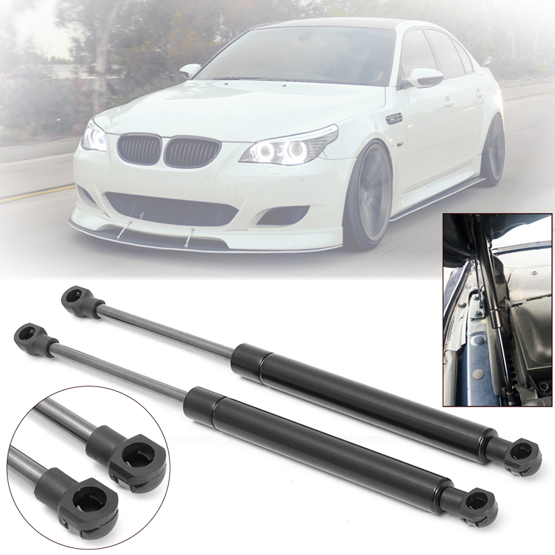 Black Hood Lift Vehicle Support Shock Strut Accessories Kit Set For BMW E60 E61 525i 528i 530i