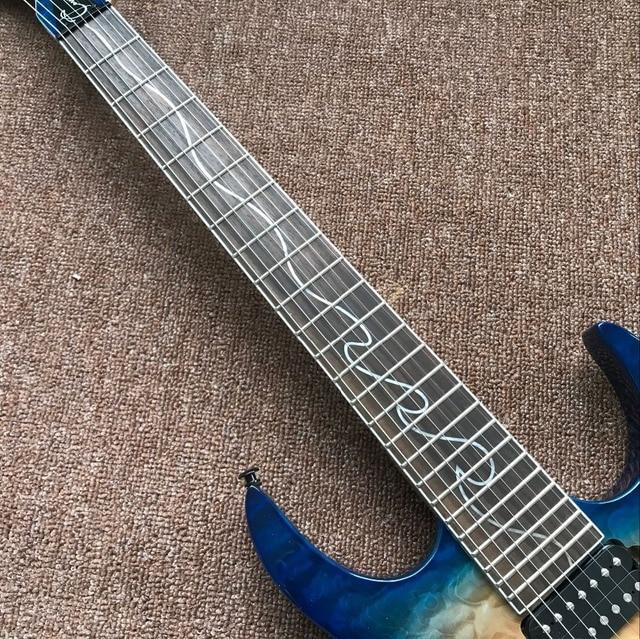 Custom Handmade 6 String Electric Guitar. Blue flame  2