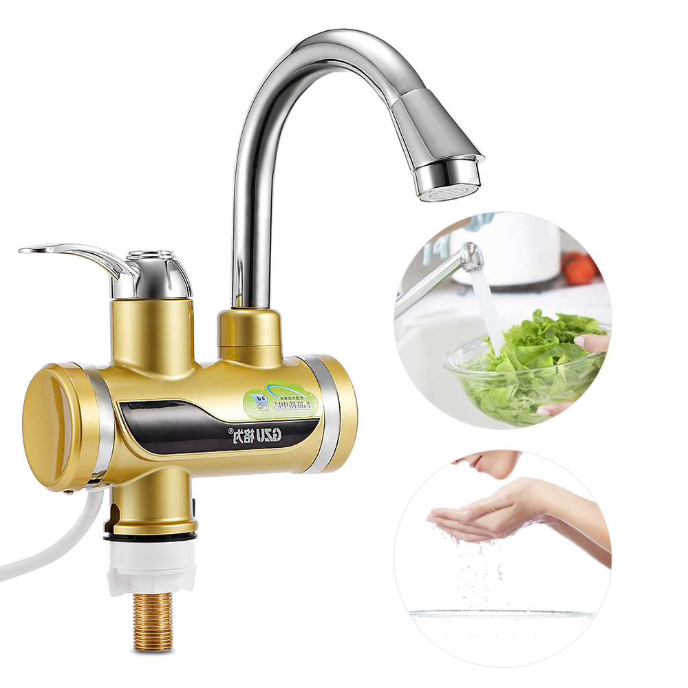 GZU Instant Tankless Electric Water Heater Faucet Kitchen Instant Flow Water Heaters Heating Tap LED Temperature Display ZM - D4