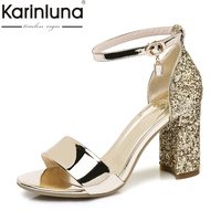 KARINLUNA 2018 Brand Shoes Women Size 32 43 Open Toe Pumps Women Shoes Sexy Bling Buckle