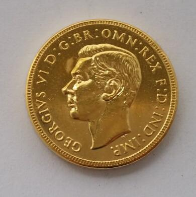 RARE 1937 GREAT BRITAIN KING GEORGE VI BUKTI GOLD ONE COUNTER SOVEREIGN