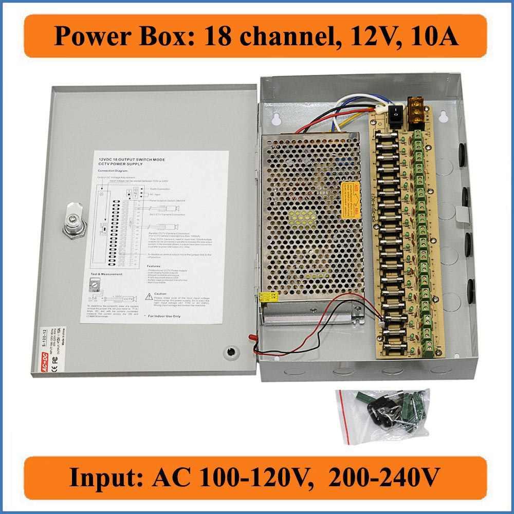 Canal 18 DC12V 10A CCTV Caixa de Alimentação Da Câmera de Segurança Câmera de Vídeo Caixa de comutação da fonte de alimentação de parede-hang 18CH Porta 10A