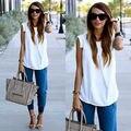 2015 дамы белого шифона блузка рубашки женщины Camisas blusas feminina плюс размер