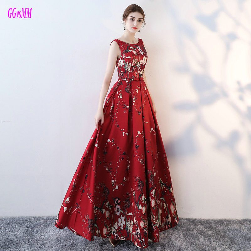 Junoesque Colorful Formal   Evening     Dresses   2019 Sexy Party Long Prom   Dresses   Scoop Satin Lace-Up Lady   Evening   Gowns Real Photos