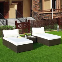 Giantex 5 PC Patio Sectional Lounge Rattan Furniture Wicker Sofa Daybed Furniture set Outdoor Furniture HW57451+
