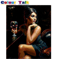 Hot Sexy Woman With Wine Painting By Numbers On Canvas DIY Abstract Frameless Oil Painting Home