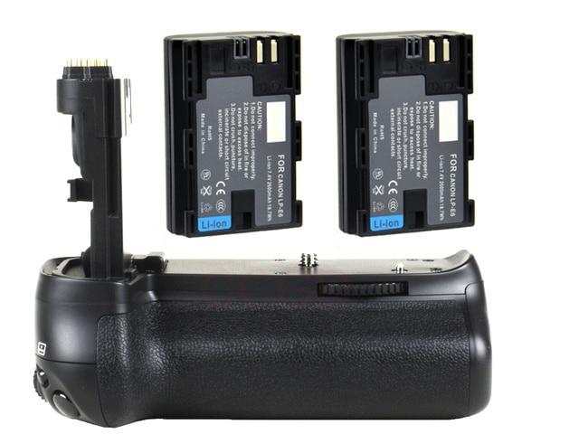 JINTU prise de batterie puissance pour Canon EOS 70D 80D DSLR appareil photo + 2 pièces Recharge LP E6 kit de batterie BG E14 de remplacement