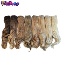 DinDong 18 Inch Blonde Fish Line Wavy Hair Extensions Secret Invisible Hairpieces With Clips Easy Attach