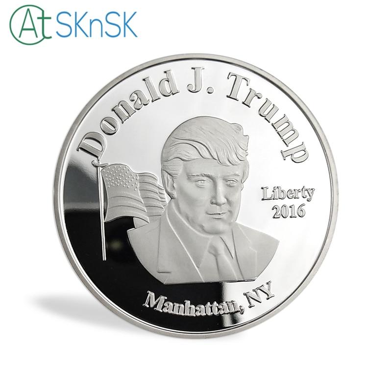 Nueva venta al por mayor 50 unids/lote Nueva York nuevo presidente Donald Trump moneda recuerdo oro/Chapado en plata monedas coleccionables - 2