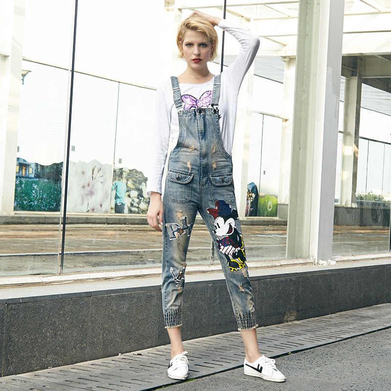 Женские осенние модные винтажные рваные джинсовые комбинезоны с бисером и блестками, женские повседневные хлопковые комбинезоны, комбинезон