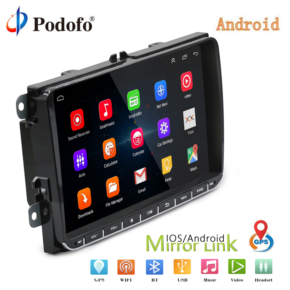 Podofo 2 Din Android 9 GPS Navigation Car Stereo Radio Multimedia Player For Bora Golf Polo VW Volkswagen passat b6 B7 Touran double 2din car radio android 8 gps navigation car dvd player 9 for golf polo passat beetle touran wifi bluetooth 2 din radio