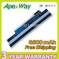 Apexway blanco 6600 mah 11.1 v batería ordenador portátil del reemplazo para acer aspire one 532 h ao532g ao532h nav50 532 532 h 532g 533