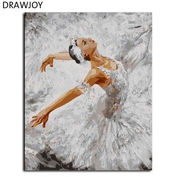 DRAWJOY nowy oprawione malowanie numerami ręcznie malowane na płótnie rysunek Diy obraz olejny naklejki ścienne 40*50 cm królowa baletu GX8074