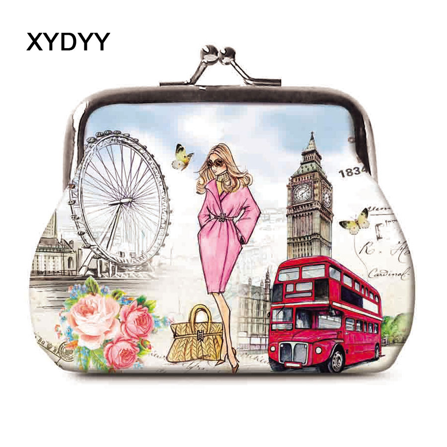 XYDYY New Fashion London Prints Women Kisslock Coin Purse Kids Clutch Coin Purse Wallet Photos Card Holder Girls Wallet Handbag the paper dolls world record edition
