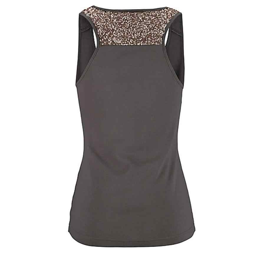 eb4f9b61095650 ... Women Plus Size Vest Tank Tops Sleeveless Sequin Vest Crop Tops Clothes  Summer Ladies Casual Blouse ...
