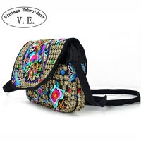 Nieuwe Nationale Etnische Vrouwen Messenger Bag Fashion Dames Handtas Doek Canvas Geborduurde Schoudertas Kleine Clutch