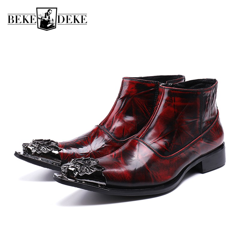 Fashion Metal Pointed Toe Shoes Men Italian Genuine Leather Martin Boots Wedding Party Footwear Business Man Formal Ankle Boots pointed toe lace up men luxury genuine leather red wedding shoes men s high heels party dress shoes print flowers fashion shoes
