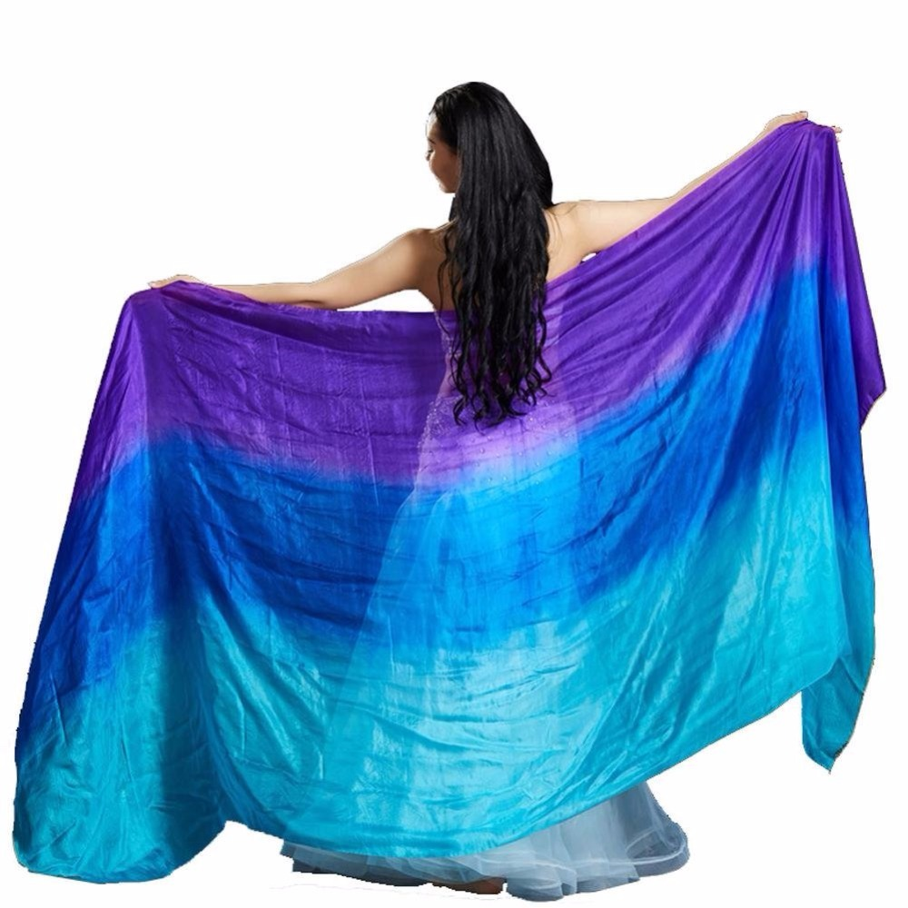 100% Silk Performance Belly Dance Veil Gradient Colors Light Texture Rectangular Hand Scarf for Women