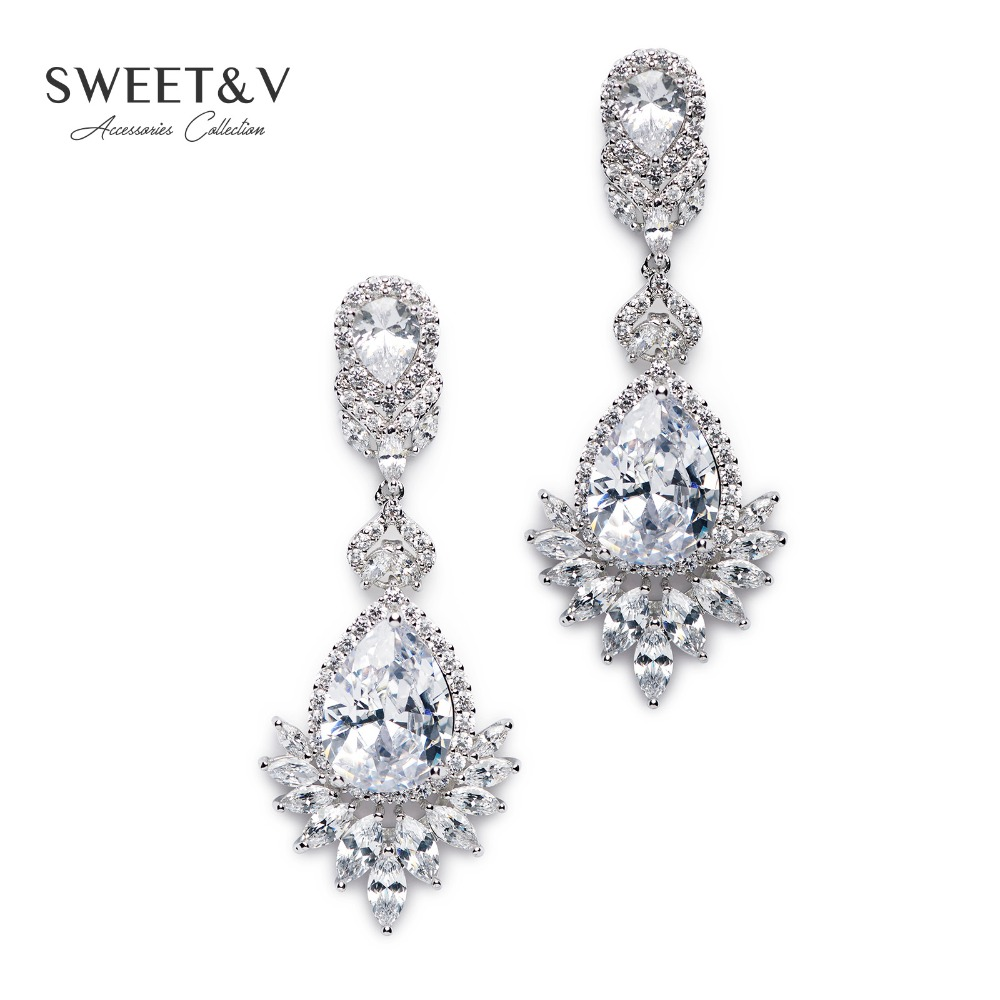 Romantic cubic zirconia bridal dangle earrings long drop crystal romantic cubic zirconia bridal dangle earrings long drop crystal chandelier earring jewelry gifts for wedding prom party in drop earrings from jewelry arubaitofo Choice Image