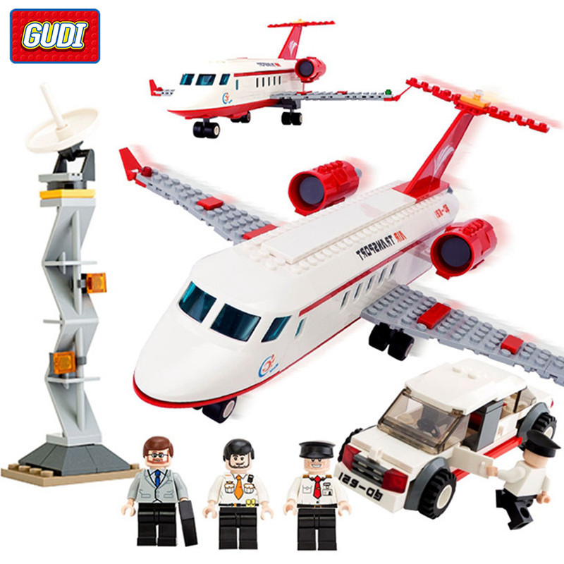 GUDI 334Pcs Airplane Air Bus Building Blocks Plane Model DIY Bricks Aviation Private Aircraft Playmobil Toys for Children Legoe