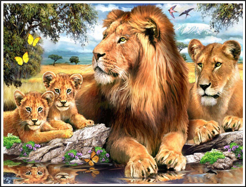 DIY Diamond Painting Wall Sticker The lions family Full Drill Diamond 3D/5D sticker
