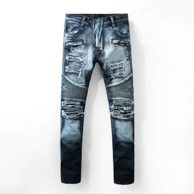 Fashion Mens Ripped Biker Jeans Pants Multi Pockets Slim Fit Pleated Motorcycle Denim Joggers Brand Designer Cargo Jean Trousers 2017 fashion patch jeans men slim straight denim jeans ripped trousers new famous brand biker jeans logo mens zipper jeans 604