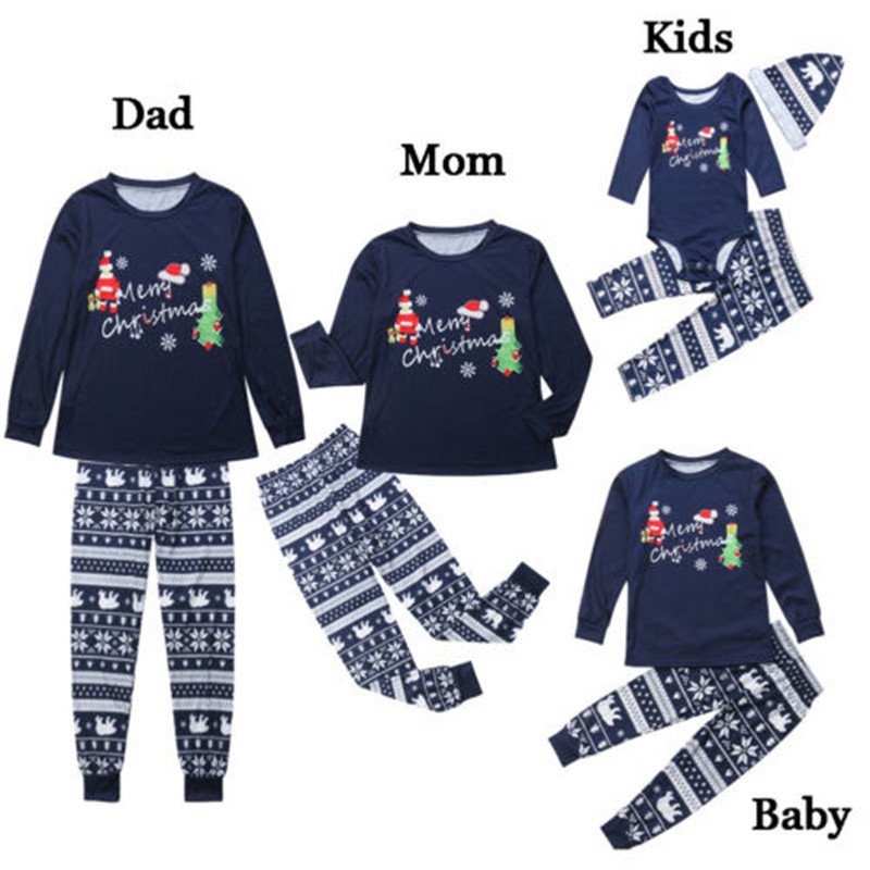 Cute Christmas Family Pajamas Set Xmas Father And Mother