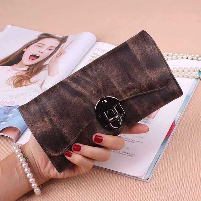 77d3a0fe5d6f4 Metal buckle Fashion Women Wallets Dull Polish Leather Wallet Double Zipper  Day Clutch Female Leather Wallet Laies Purse 366