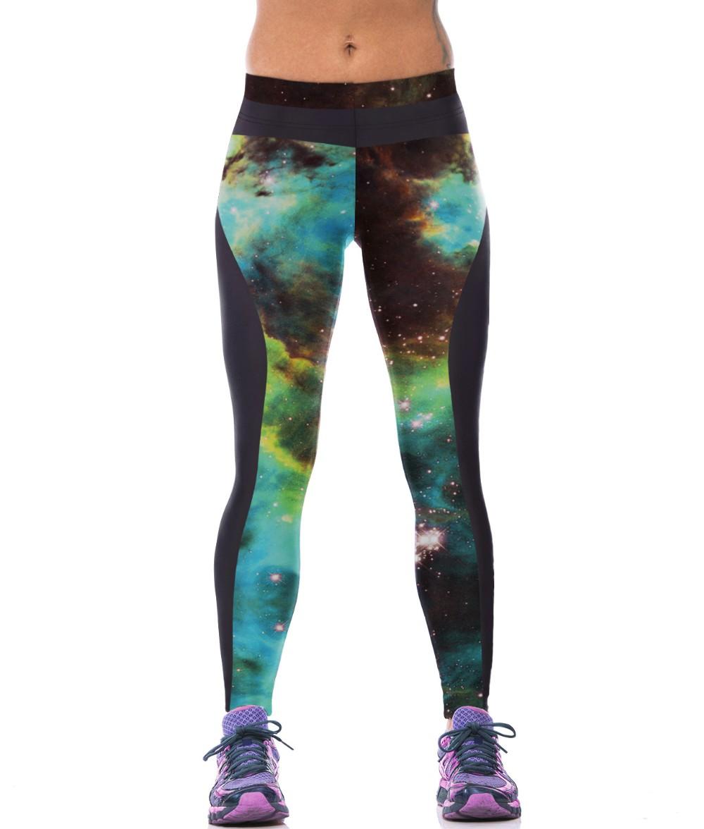 бесплатная доставка дамы женщины повседневная галактики окрашенные леггинсы брюки мои-t2034