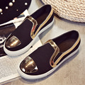 Metal Gold Flat Shoes Women Slip On 2017 New Spring Thick Bottom Low Cut Fashion Casual Shoes Female Comfortable Tenis Feminino