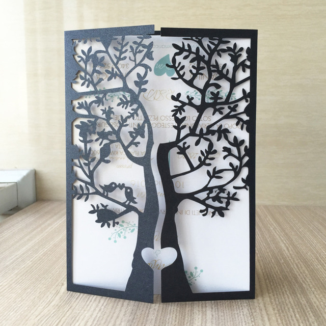 30pcs/lot Wedding Party Decoration Paper Craft Laser Cut Love Tree Wedding  Invitation Card Various