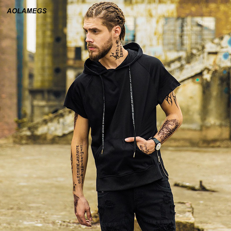 Aolamegs Mens Hoodies Hip Hop Side Zipper Short Sleeved Hoodie Tee High Street Hooded Pullover Kanye west Style Tops Clothing