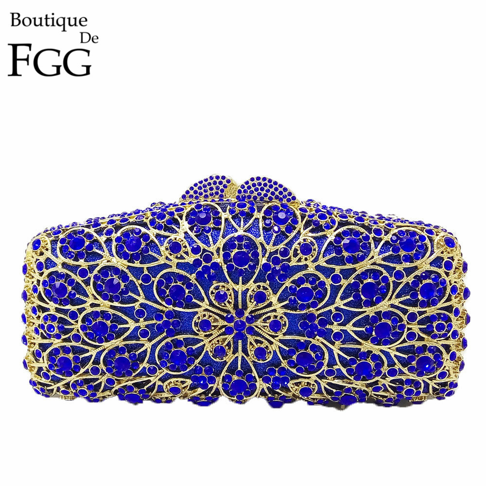 Boutique De FGG Royal Blue Flower Hollow Out Crystal Women Evening Metal Clutches Bag Wedding Dinner Party Clutch Handbag Purse gold plating floral flower hollow out dazzling crystal women bag luxury brand clutches diamonds wedding evening clutch purse