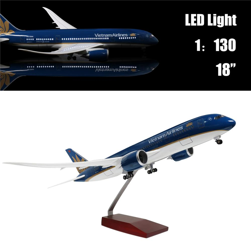 46CM 1:130 Airplane Model Vietnam Boeing 787  With LED Light(Touch or Sound Control) For Decoration Or Gift