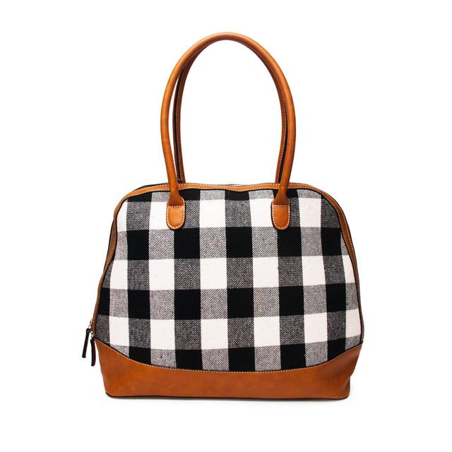 fe00b815815 Wholesale Plaid Shell Tote Black White Check Purse Patchwork Faux Leather  Bridesmaid Handbag DOM106399