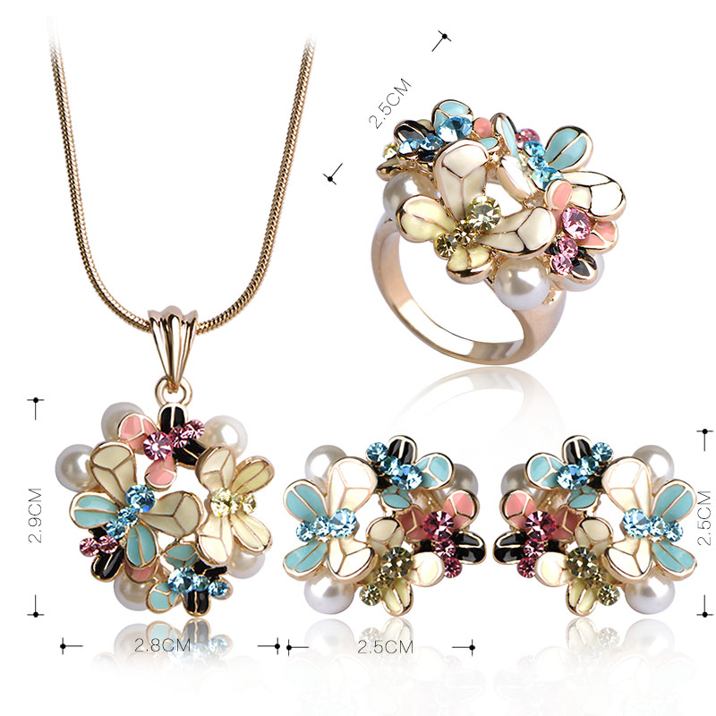 Madrry Fashion Dubai Jewelry Sets Gold Color Enamel Flower Pendant Necklace Earrings Ring For Women Simulated-pearl Anel Schmuck 1