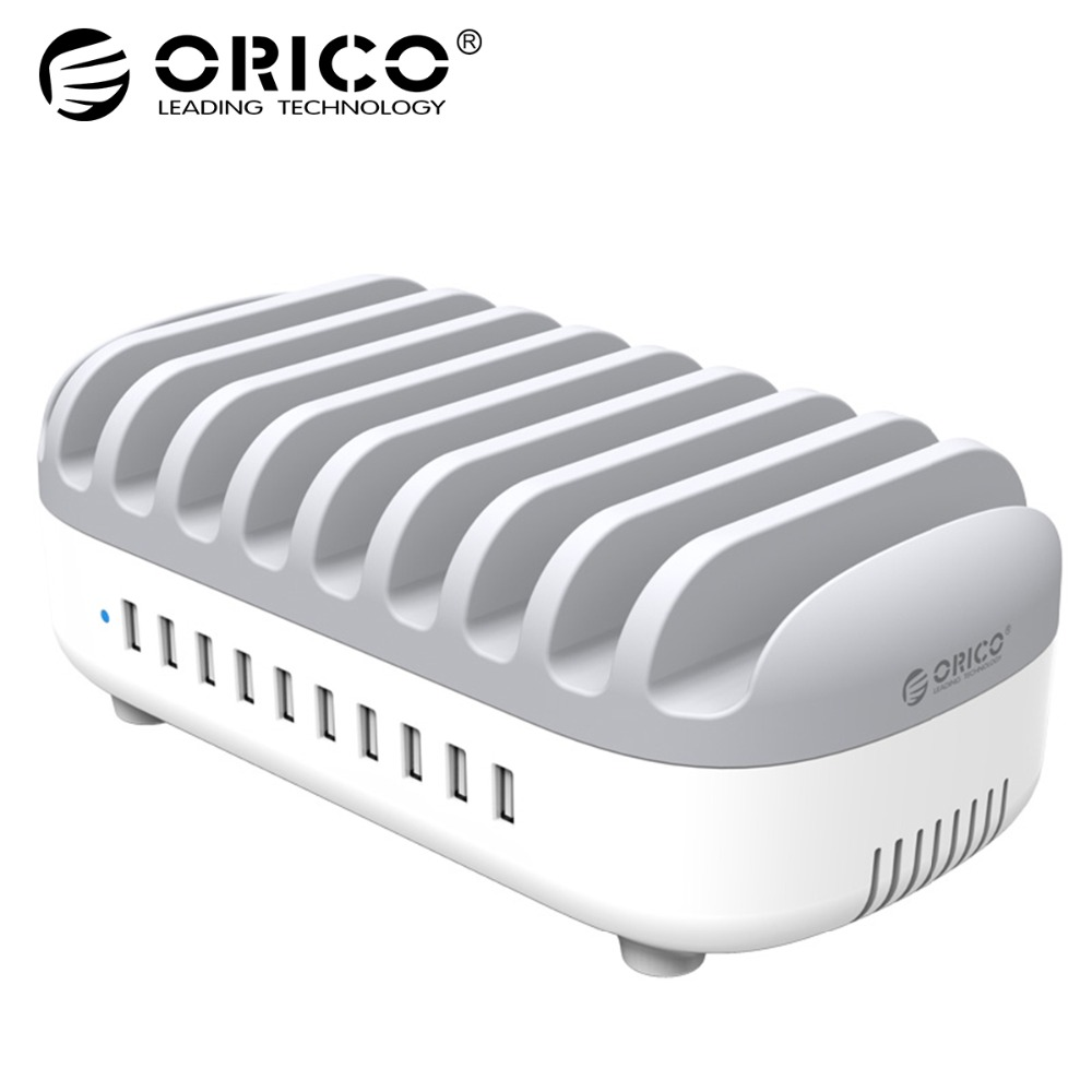 ORICO 10 port power station d'accueil 120 w 5V2. 4A * 10 USB Chargeur Dock avec Support pour Téléphone Tablet PC Appliquer pour La Maison Publique