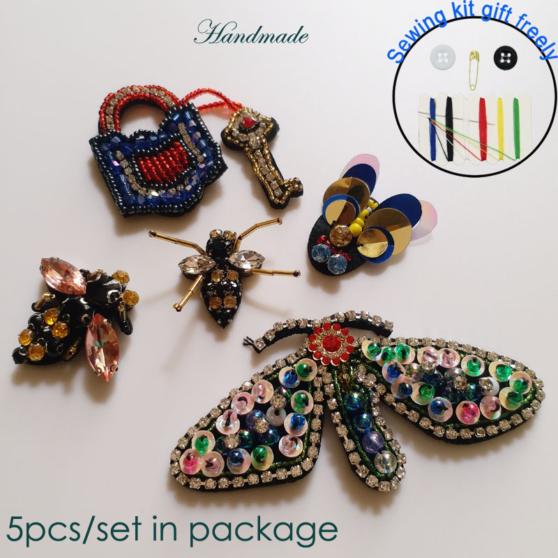5pcs/set bee butterfly Handmade Rhinestone beaded Patch for clothing DIY sequins embroidery applique Patches decorative parches