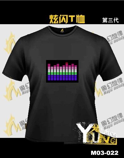 2 flash t-shirt clothes luminous voice activated t-shirt cold light t-shirt music t-shirt