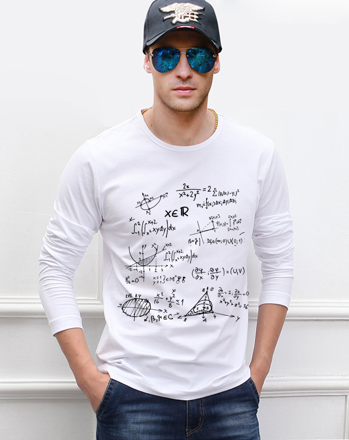 for adult science   t     shirt   Teen Math formula men long sleeve   t  -  shirt   2019 new style spring 100% cotton high quality top tees