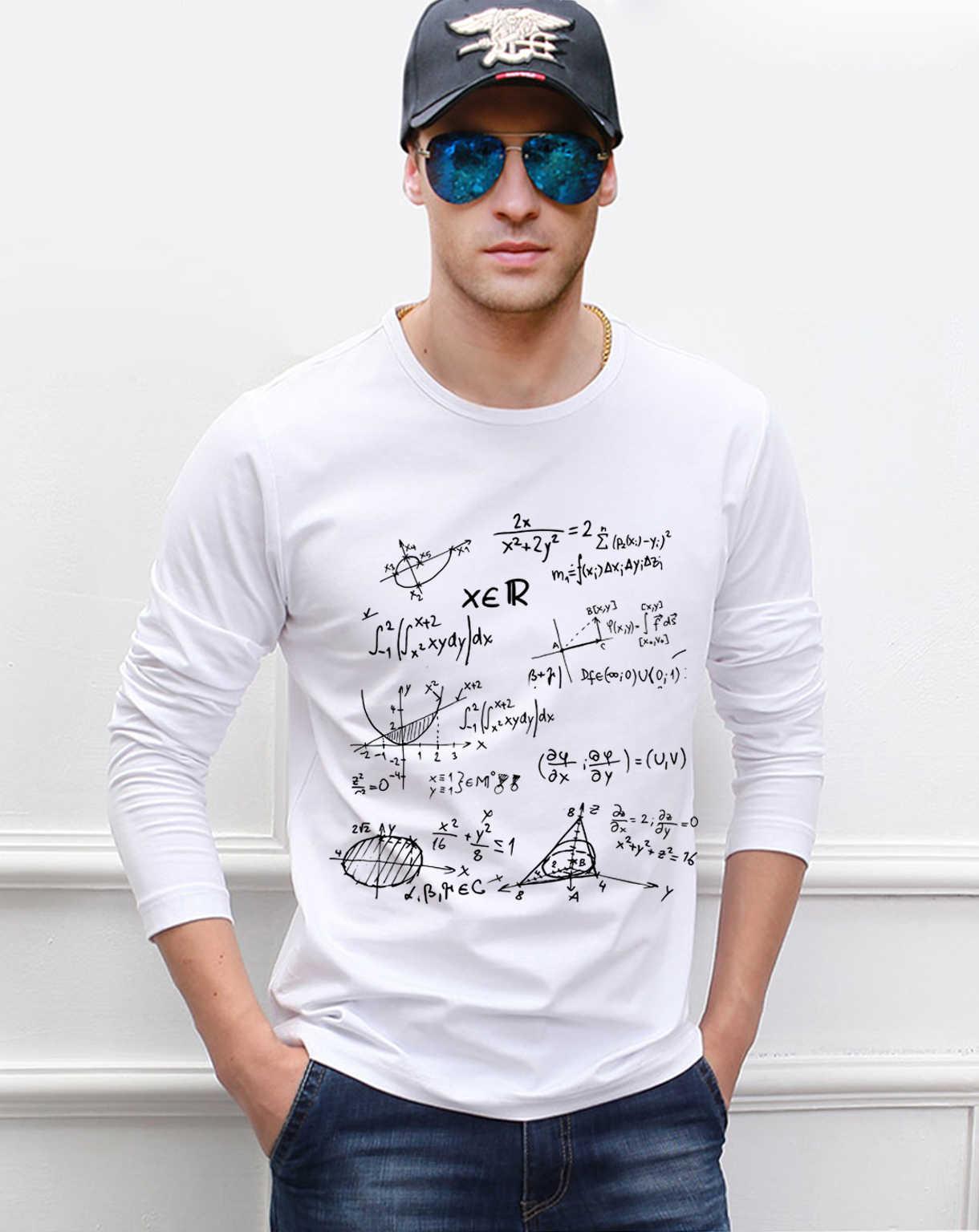 성인 과학 t 셔츠 하이틴 수학 공식 남자 긴 소매 티셔츠 2019 새로운 스타일 봄 100% 코 튼 고품질 상위 티셔츠