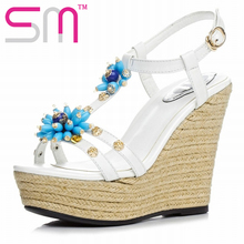 Fashion Weave Wedges Genuine Leather Women's Sandals Sexy Open toe Bead Rivets Sandals Summer Platform Shoes Woman